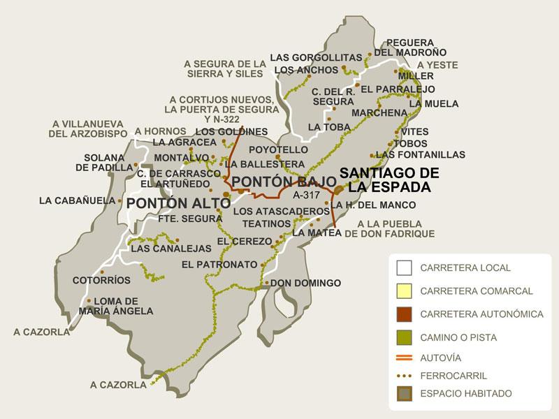 Mapa núcleos de población Santiago-Pontones